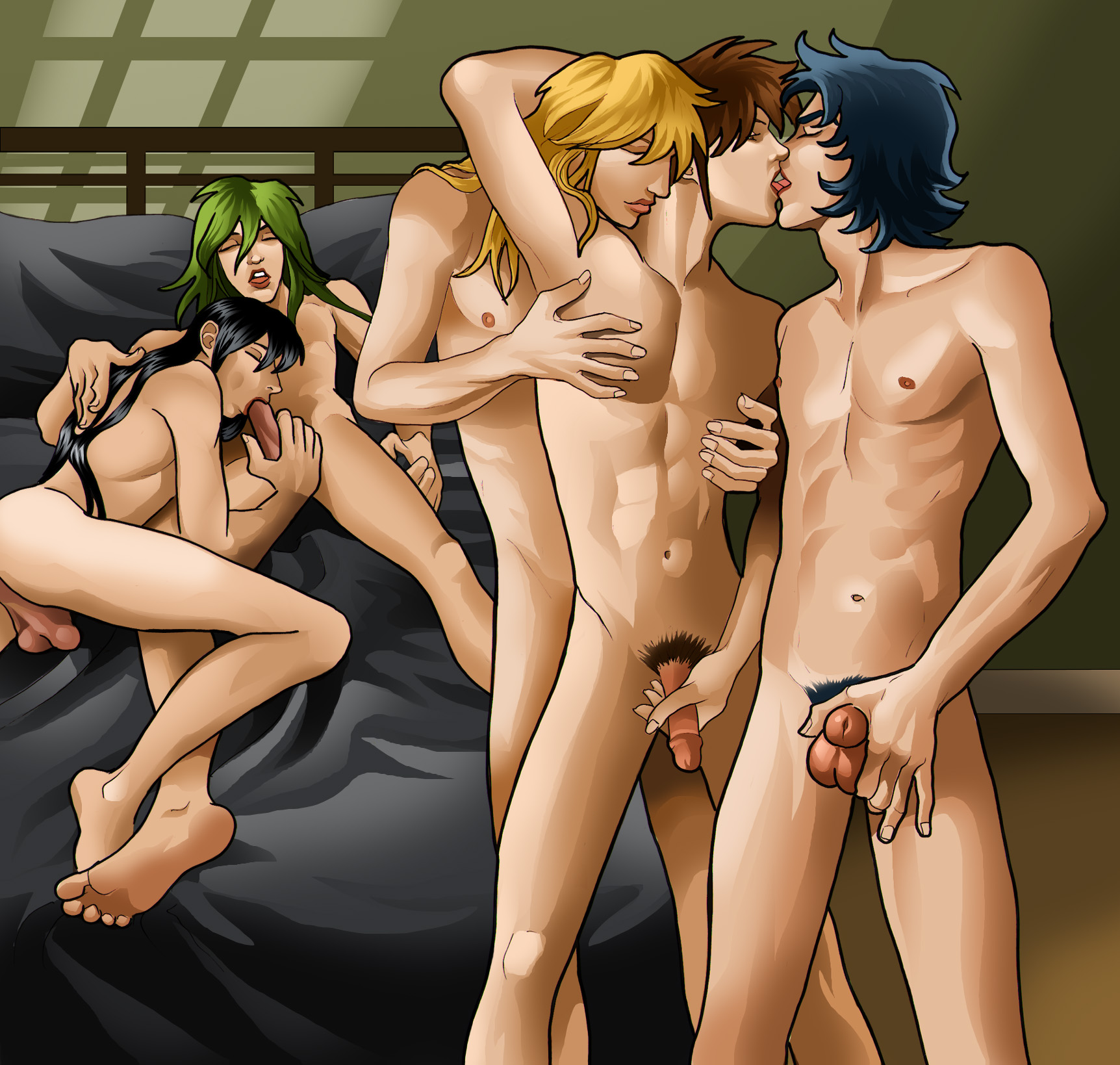 Chained hentai groupsex and hard gangbang